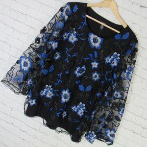 Alfani Shirt Top Womens Large L Black Blue Floral